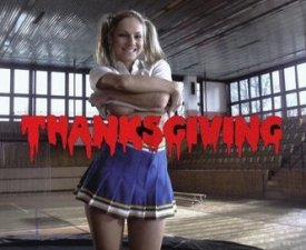 A cheerleader giving thanks