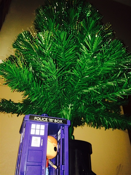 Marty McFly, in the TARDIS, under our tree, yesterday.